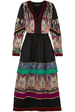 ETRO Fringed embellished silk-jacquard midi dress