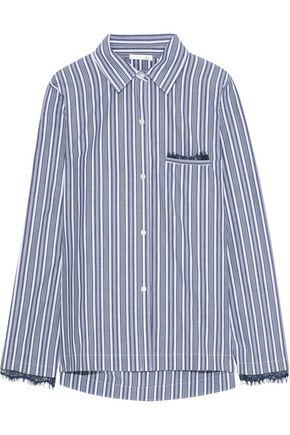 SKIN Lace-trimmed striped cotton-poplin pajama shirt