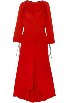 MARNI Grosgrain-trimmed crepe midi dress