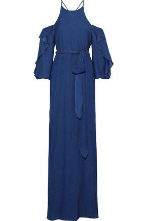 HALSTON HERITAGE Cold-shoulder ruffled seersucker gown