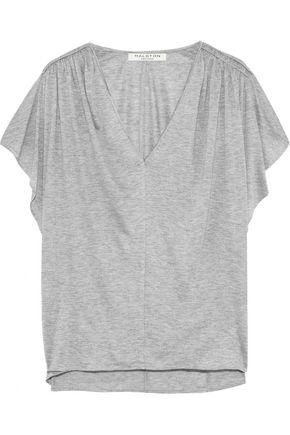 HALSTON HERITAGE Shirred mélange jersey T-shirt