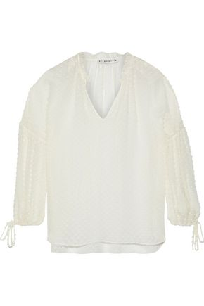 ALICE + OLIVIA Julius fil coupé silk and cotton-blend blouse