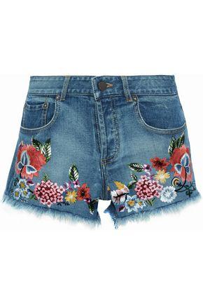ALICE + OLIVIA Frayed embroidered denim shorts