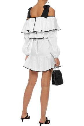 PETERSYN Tasha cold-shoulder ruffled cotton-gauze mini dress