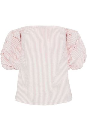 PETERSYN Tara off-the-shoulder striped cotton-seersucker top