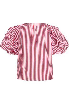 PETERSYN Tara off-the-shoulder striped cotton-seersucker top