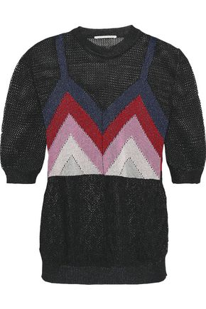 MARCO DE VINCENZO Metallic intarsia-knit top