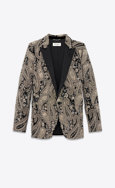 Velvet jacket embroidered with paisley crystals