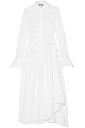 PREEN by THORNTON BREGAZZI Ruched cotton-poplin midi shirt dress