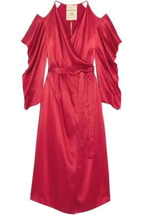 ROLAND MOURET Serena cold-shoulder silk-satin midi wrap dress