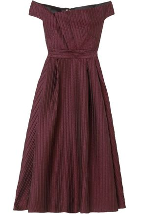 ROLAND MOURET Off-the-shoulder jacquard midi dress