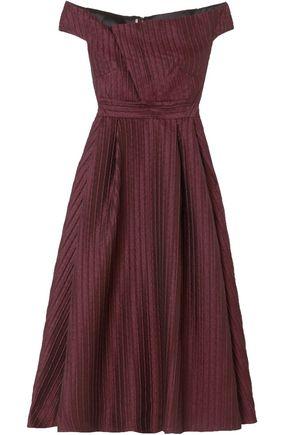 ROLAND MOURET Off-the-shoulder jacquard midi dress