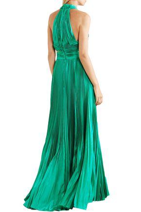 ZUHAIR MURAD Cutout silk-blend plissé maxi dress