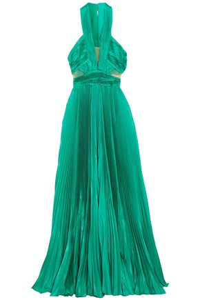 ZUHAIR MURAD Cutout silk-blend plissé maxi dress