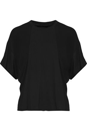 ENZA COSTA Paneled ribbed jersey T-shirt