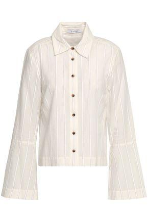 DEREK LAM 10 CROSBY Striped bouclé and cotton-blend gauze blouse