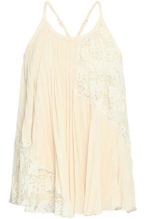 DEREK LAM 10 CROSBY Pleated lace-paneled chiffon camisole