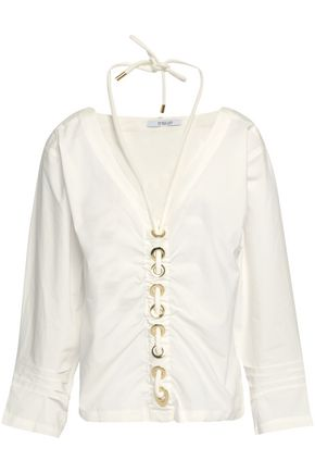 DEREK LAM 10 CROSBY Embellished ruched cotton-poplin top