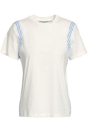 DEREK LAM 10 CROSBY Striped woven-paneled cotton-jersey T-shirt