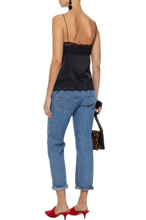 ALICE + OLIVIA Dorine lace-trimmed stretch-silk satin camisole