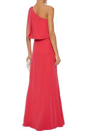 HALSTON HERITAGE One-shoulder layered crepe gown