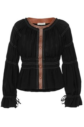 ALTUZARRA Goncourt leather-trimmed ruched linen and cotton-blend canvas and silk-gauze blouse