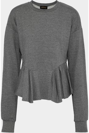 PETERSYN Pleated French terry peplum top