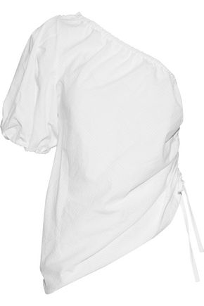 PETERSYN Abigail one-shoulder ruched cotton-seersucker top