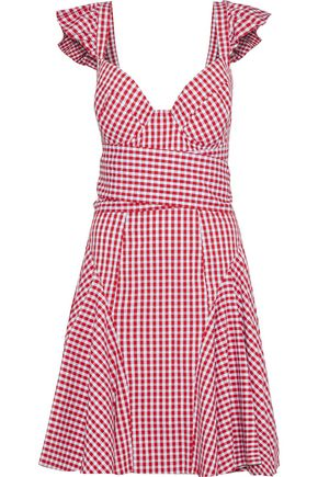 PETERSYN Cate ruffle-trimmed gingham cotton-poplin dress