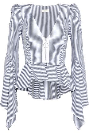 PETERSYN Berkley striped cotton-poplin peplum top