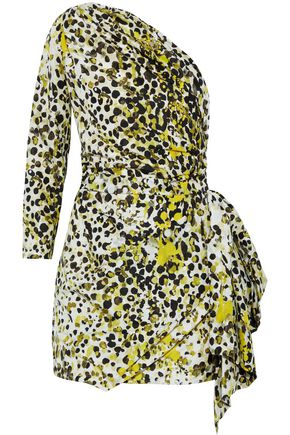 ROBERTO CAVALLI One-shoulder printed silk mini dress