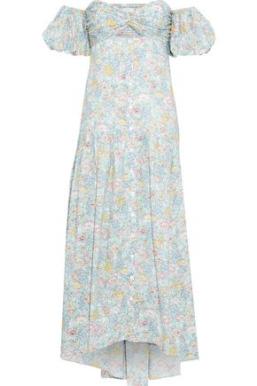 PETERSYN Dove off-the-shoulder cutout floral-print cotton midi dress