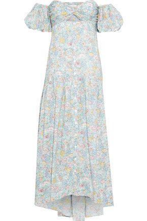 PETERSYN Dove off-the-shoulder cutout floral-print cotton midi dress
