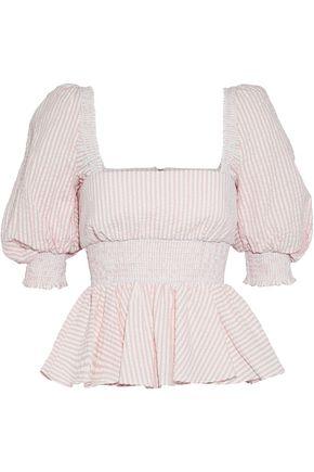 PETERSYN Shirred striped cotton-poplin top