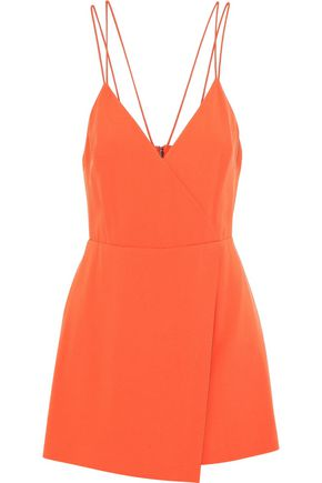 ALICE + OLIVIA Emery wrap-effect crepe playsuit