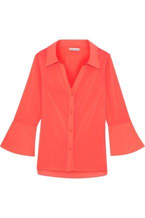 ALICE + OLIVIA Denver neon crepe de chine shirt