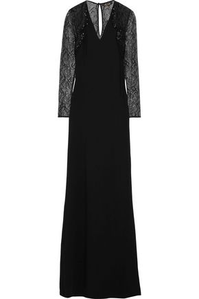 ROBERTO CAVALLI Lace-paneled embellished stretch-cady gown