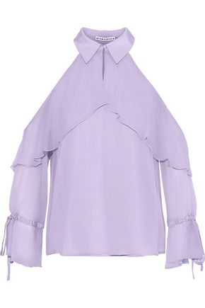 ALICE + OLIVIA Blayne cold-shoulder ruffled silk-chiffon blouse