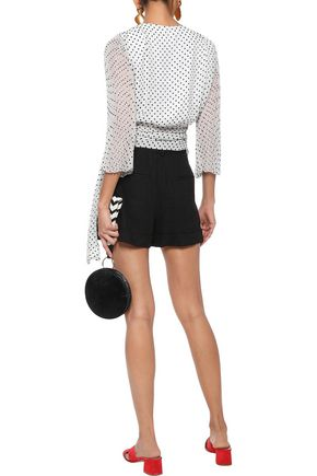 ALICE + OLIVIA Bray pleated polka-dot chiffon wrap top