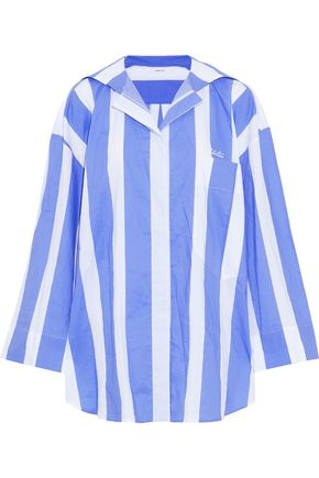 PUSHBUTTON Oversized embroidered striped cotton-poplin shirt
