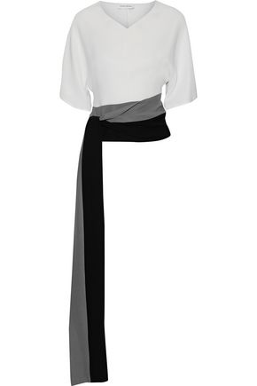 NARCISO RODRIGUEZ Tie-front color-block silk-crepe top