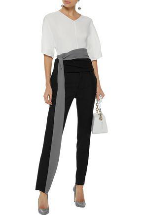 a8ad501444591 NARCISO RODRIGUEZ Tie-front color-block silk-crepe top