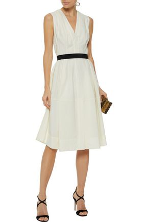 NARCISO RODRIGUEZ Crepe-trimmed wool-poplin dress