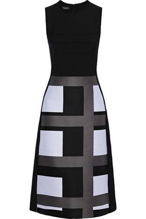 NARCISO RODRIGUEZ Wool-twill and jacquard dress