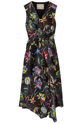 JASON WU Knotted floral-print crinkled silk-satin dress