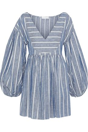 CAROLINE CONSTAS Anais striped linen and cotton-blend mini dress