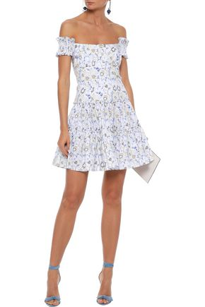 CAROLINE CONSTAS Maria off-the-shoulder shirred printed cotton-blend poplin mini dress