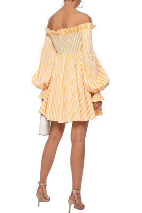 CAROLINE CONSTAS Kora off-the-shoulder striped cotton mini dress