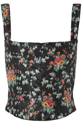BROCK COLLECTION Tayten printed silk-taffeta bustier top