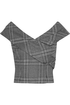 ALICE + OLIVIA Deandra cropped metallic checked brushed-twill top